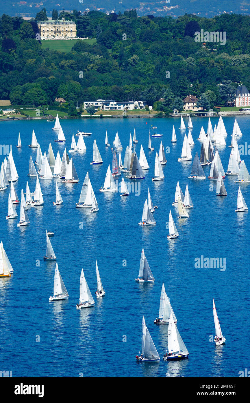 Start of the 2009 Bol d'Or sailing race, on Lac Léman, Geneva. Taken from a high viewpoint overlooking the - Stock Image