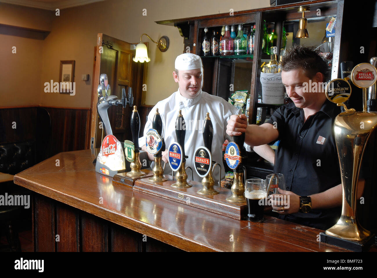 Brothers Wayne & Jason Penn, owners of the Crooked House Pub in Himley, Gornal Wood, West Midlands Stock Photo