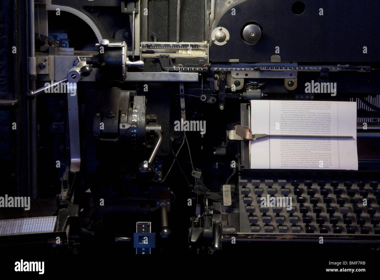 Linotype machine 1965 - Stock Image