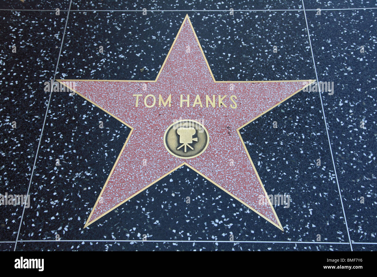 Tom Hanks Star, Hollywood Walk of Fame, Hollywood Boulevard, Los Angeles, California, USA - Stock Image