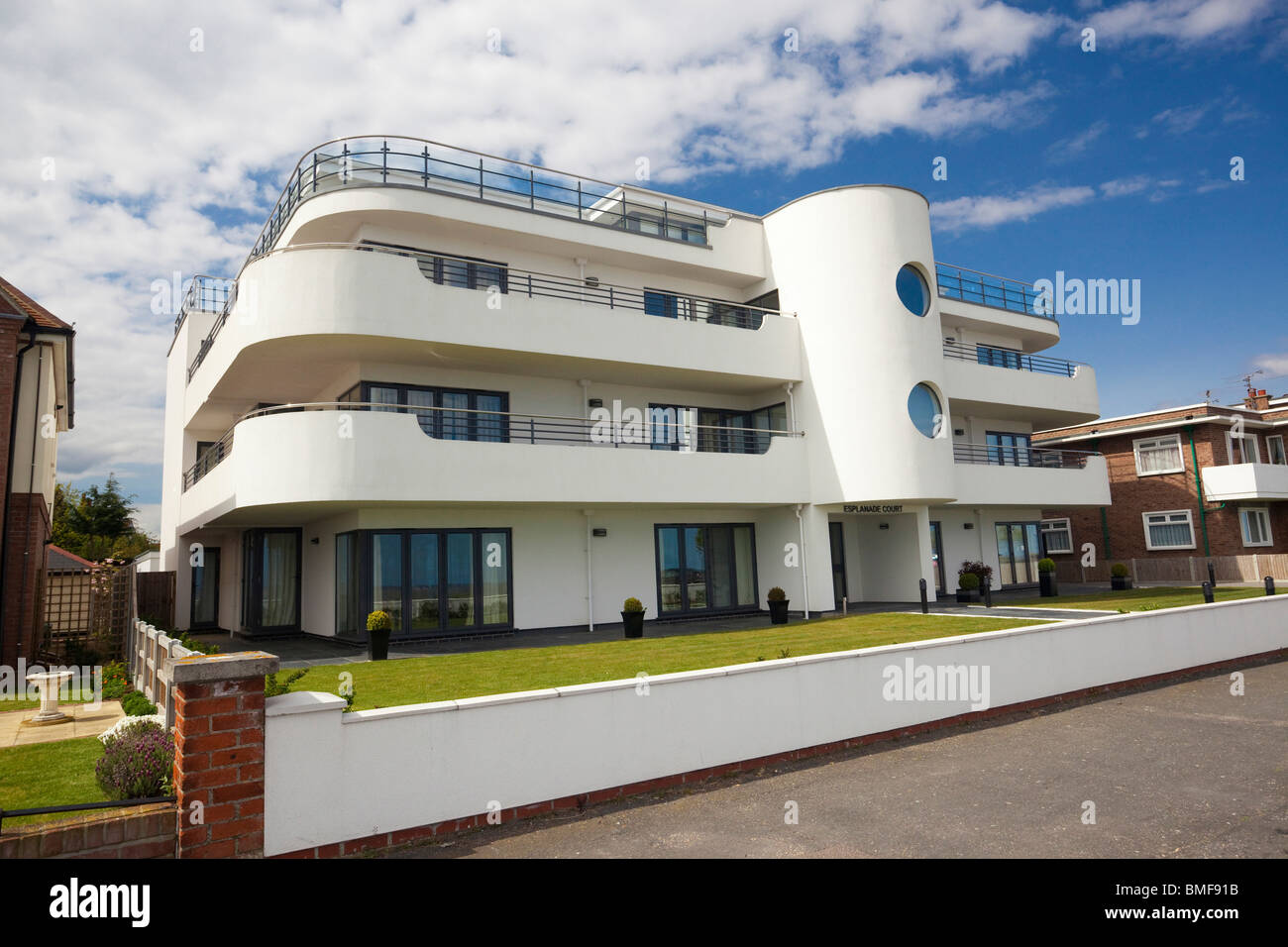art deco style house at frinton on sea essex uk stock photo