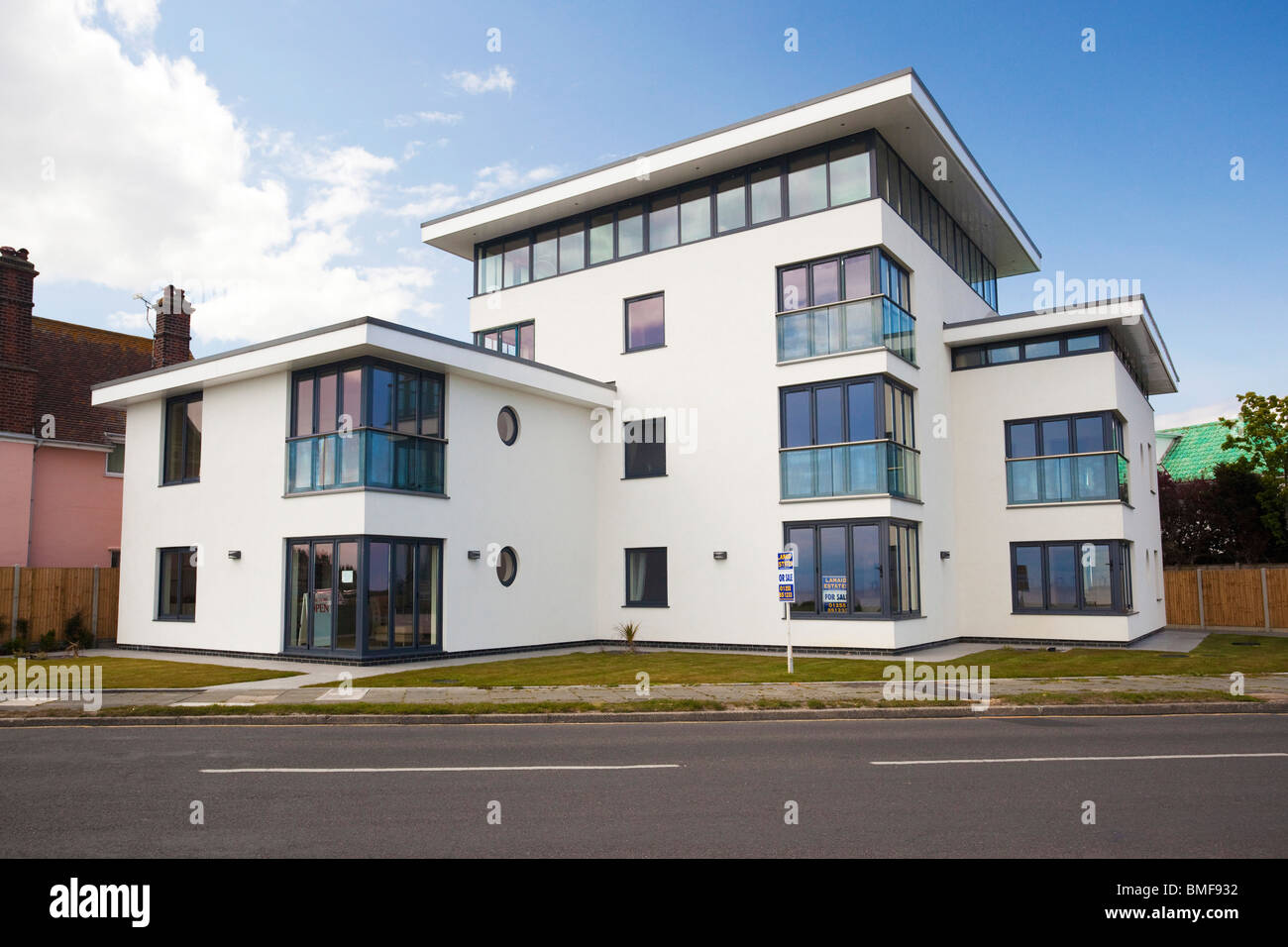 modern art deco style house at frinton on sea essex uk stock photo