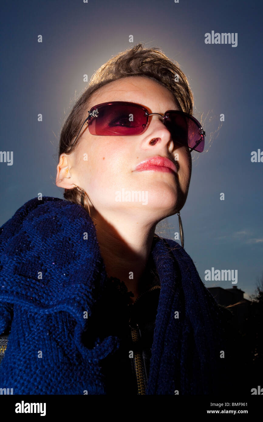 serious stylish young woman - Stock Image