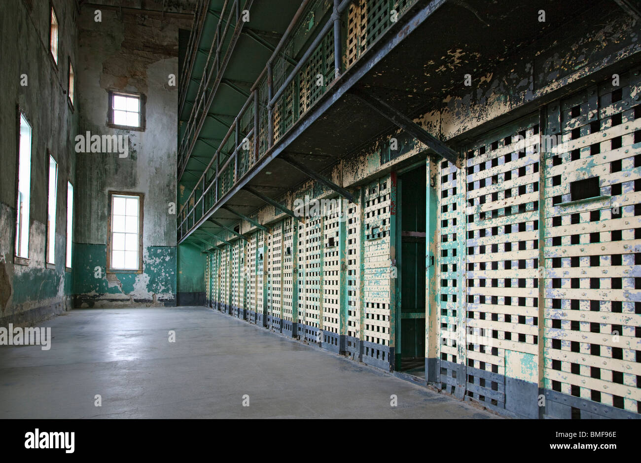 A Cellblock at the old Idaho Penitentiary in Boise, Idaho - Stock Image