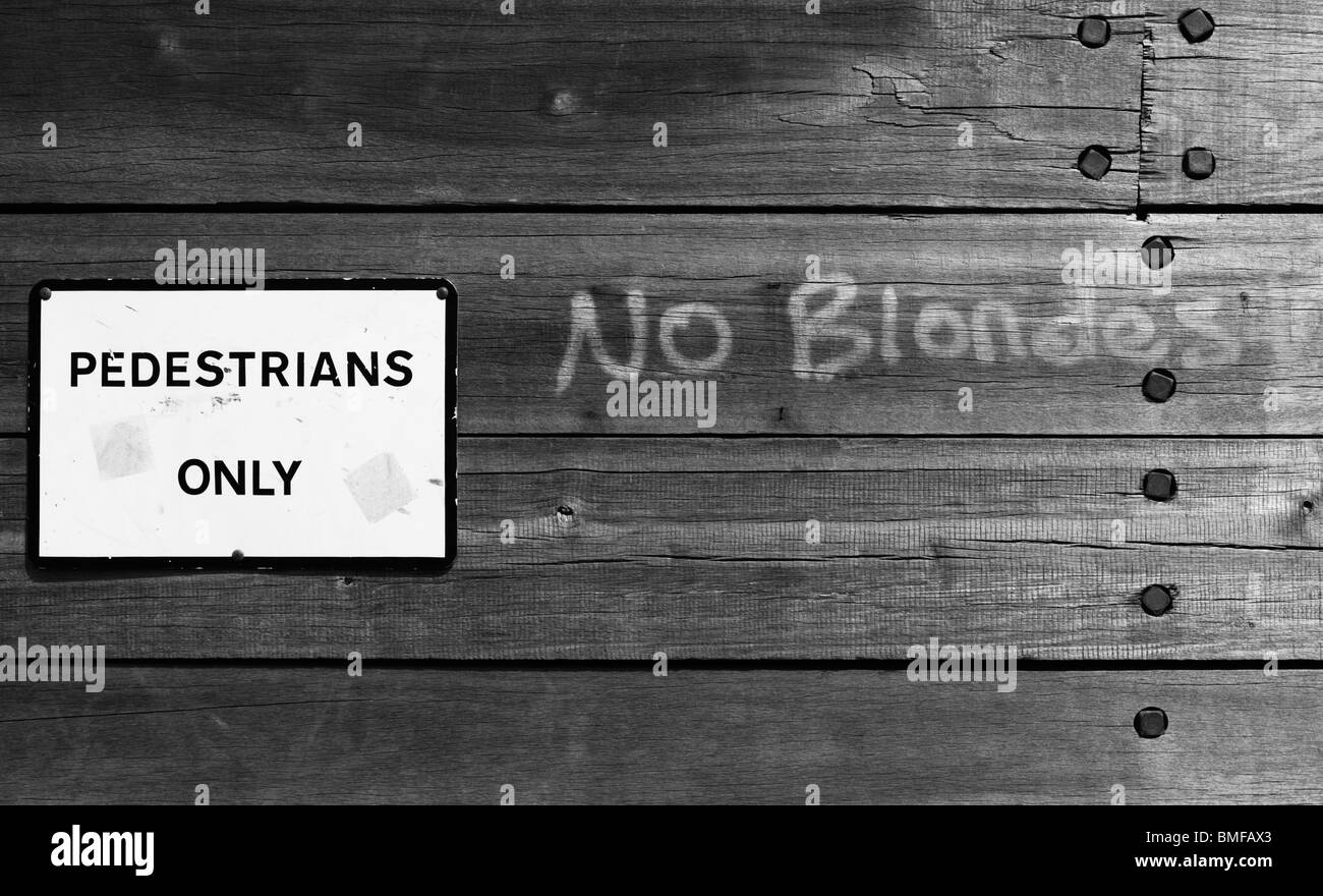 'No Blondes' graffiti. - Stock Image