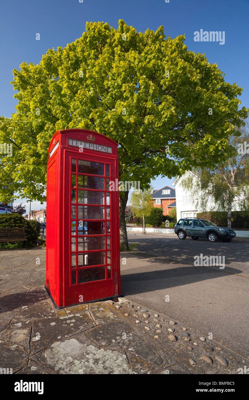 classic red K6 telephone box in UK - Stock Image