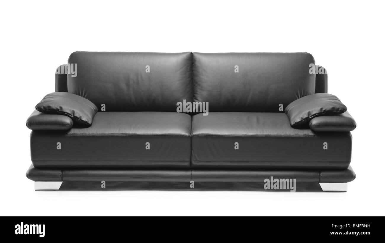A modern black leather sofa Stock Photo