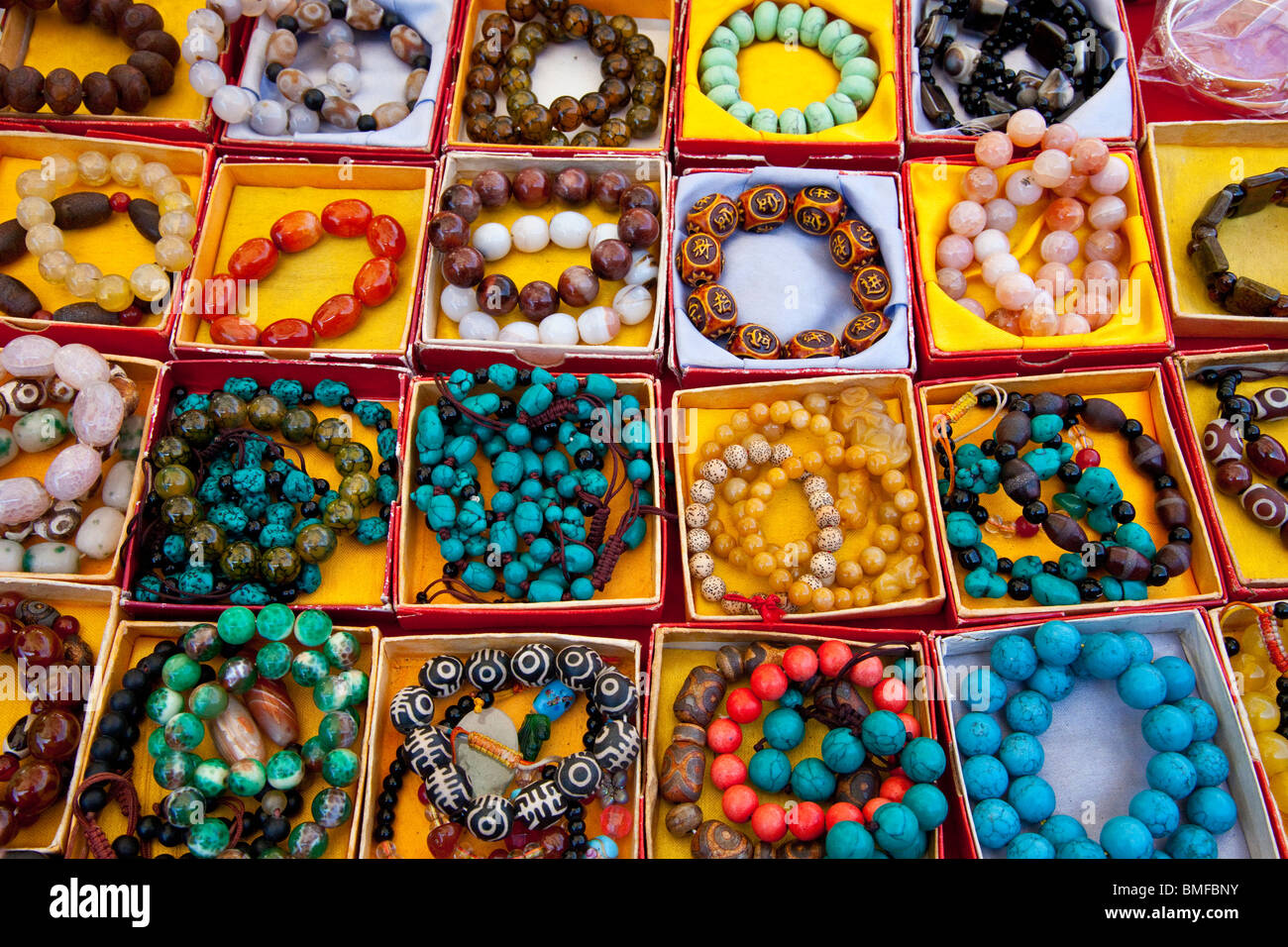 Souvenir jewelry in Shangri-La or Zhongdian in Yunnan Province, China - Stock Image