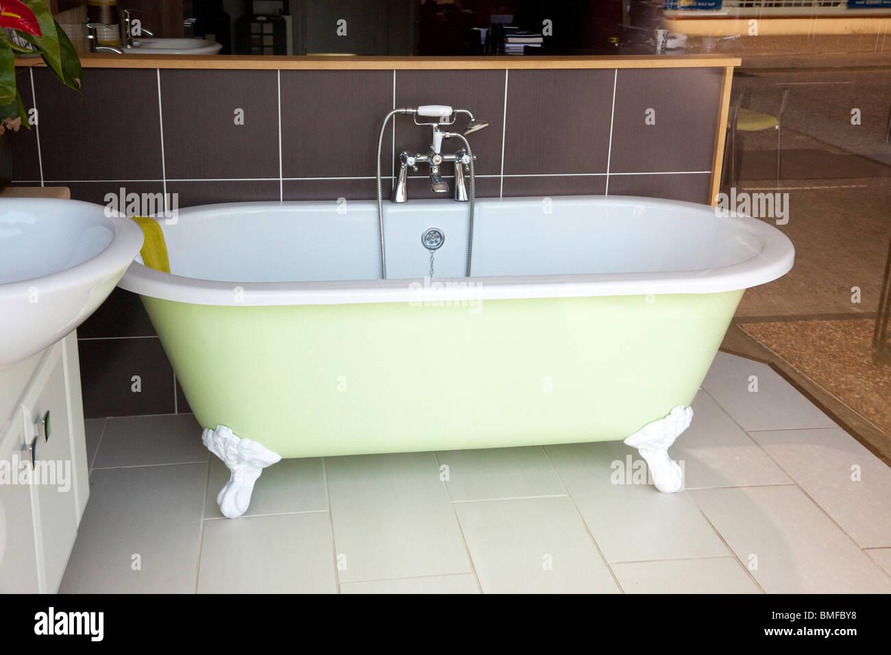 bath in a bathroom shop showroom - Stock Image