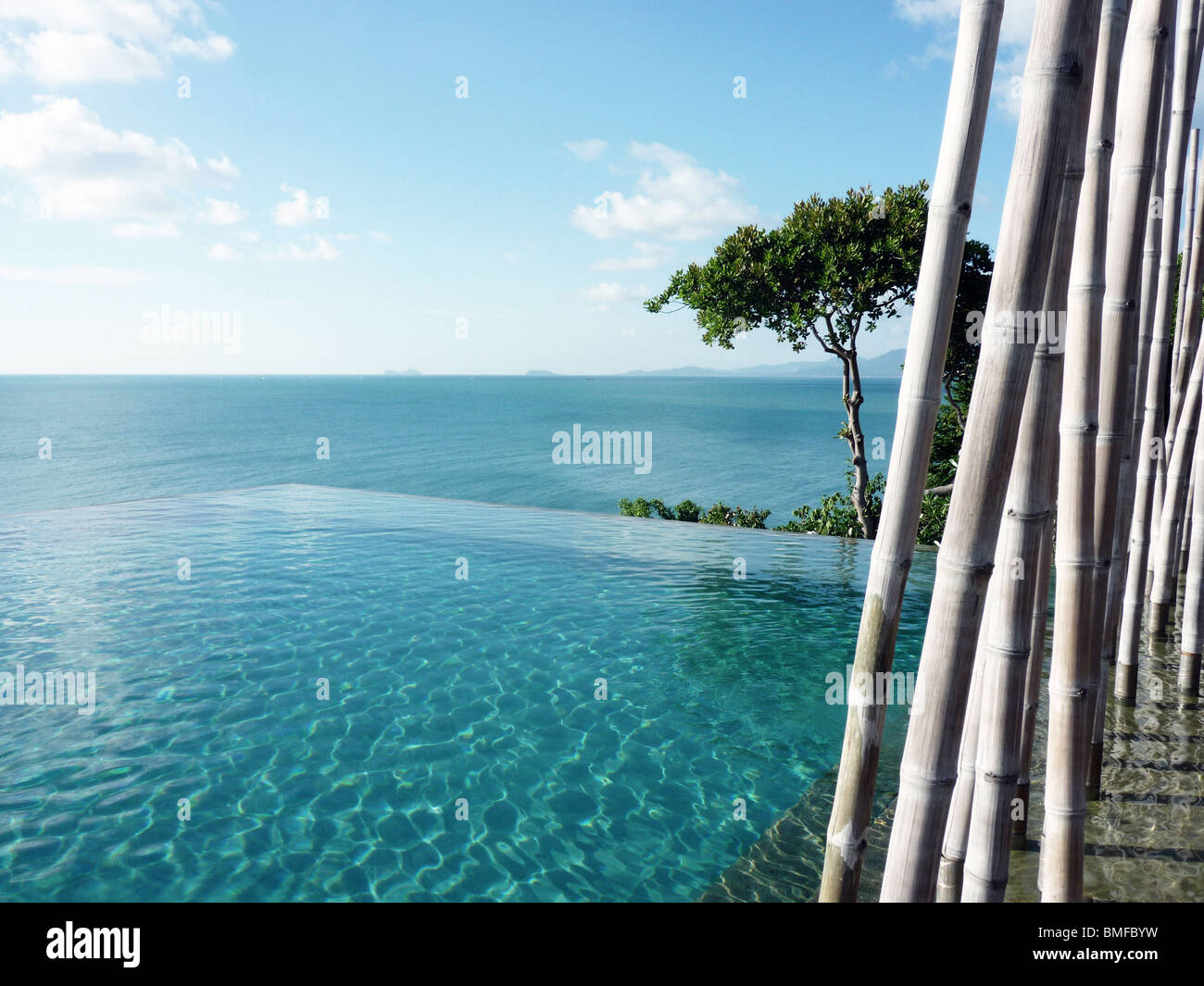 The pool at the Six Senses, Koh Samui - Stock Image
