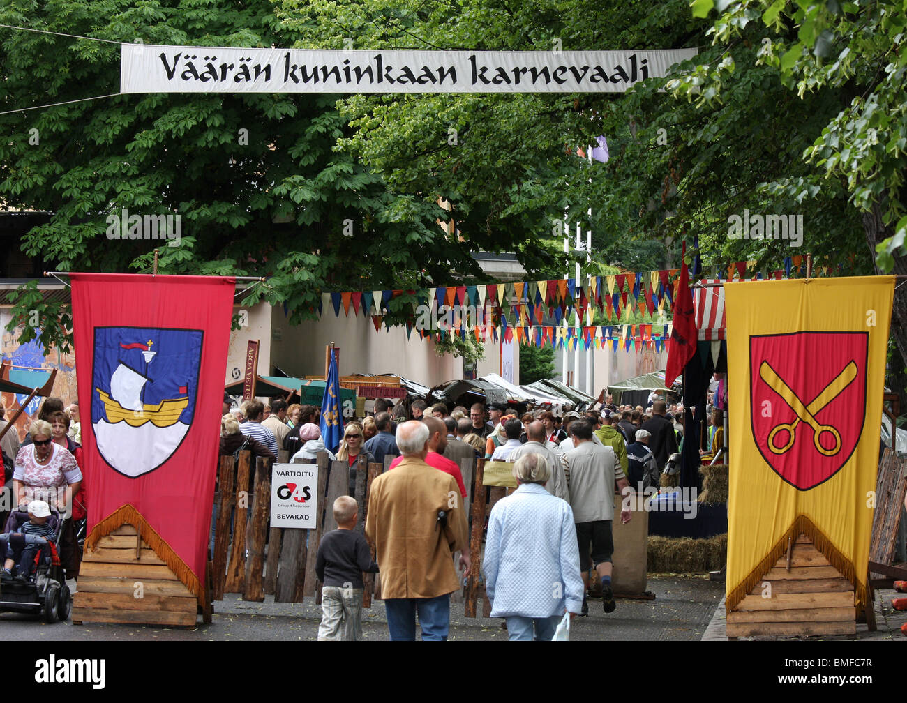 Crowds gather at the medieval market and festival in Turku Finland Stock Photo