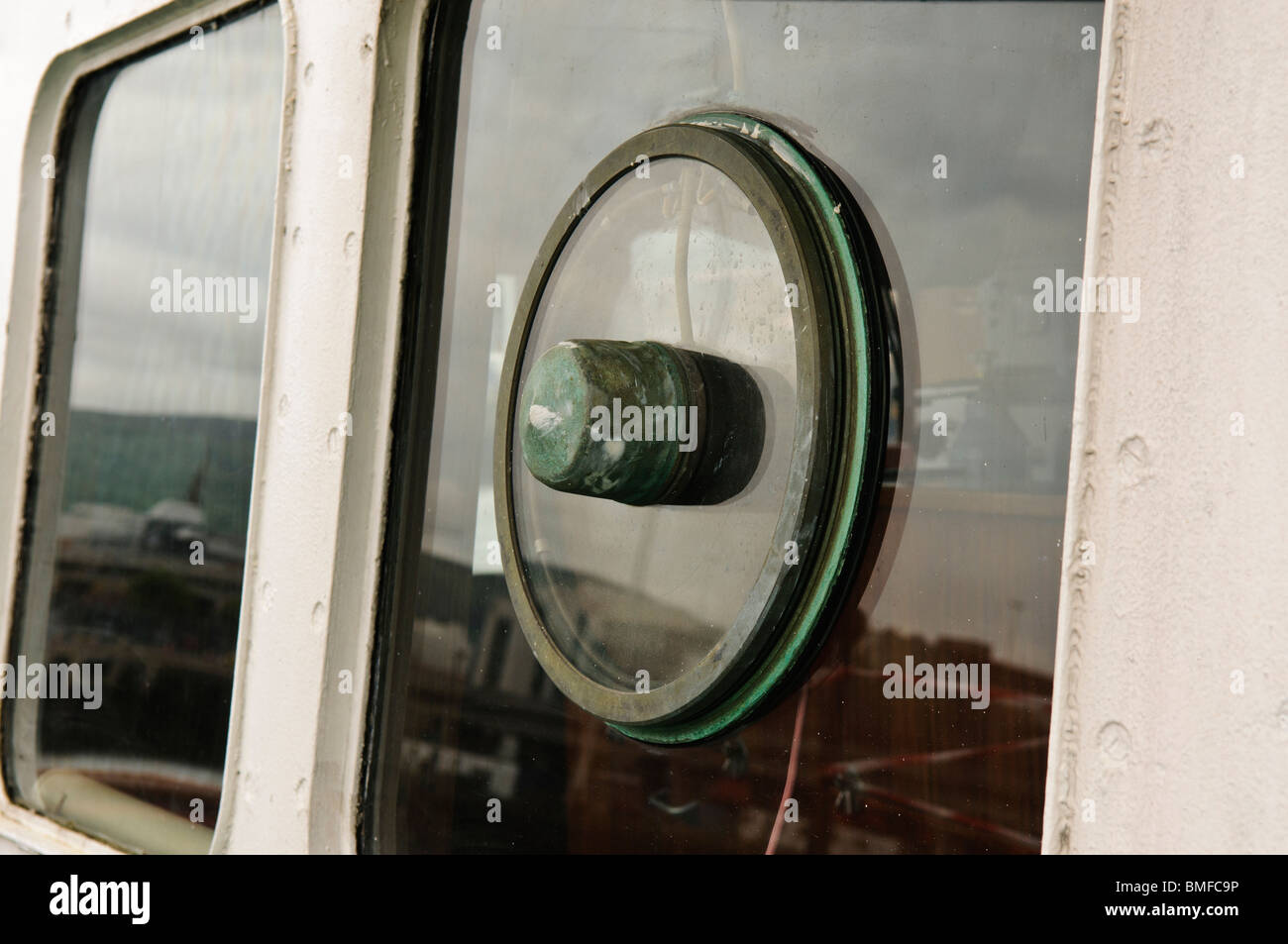 Clearview screen on a bridge window on a ship - Stock Image