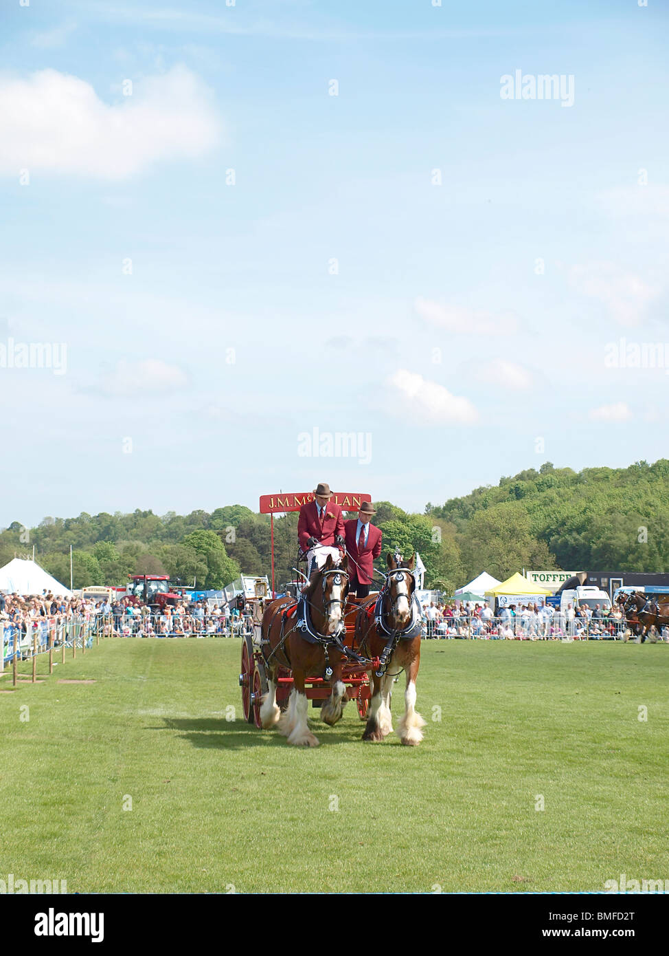 Stagecoach/brewery cart pulled by Shire horses - Stock Image