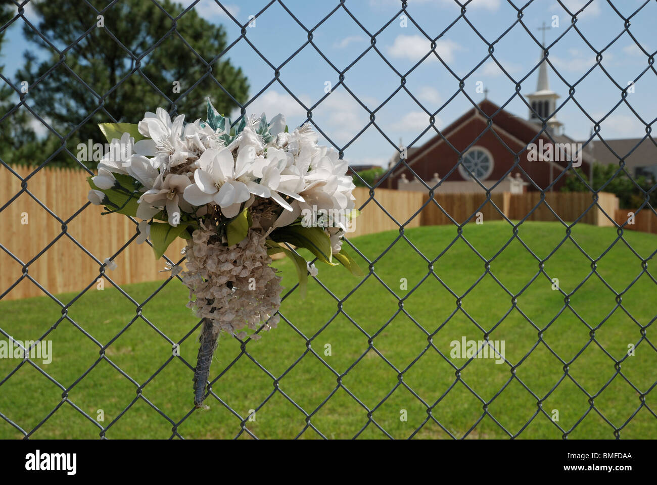 A bouquet left at what was the children's play area of the Alfred P Murrah Federal Building. Stock Photo