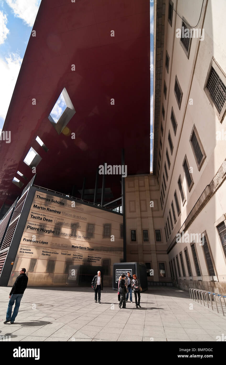 Part of the new futuristic; wing designed by architect Jean Nouvel at the Centro de Arte Reina Sofia in Madrid, - Stock Image