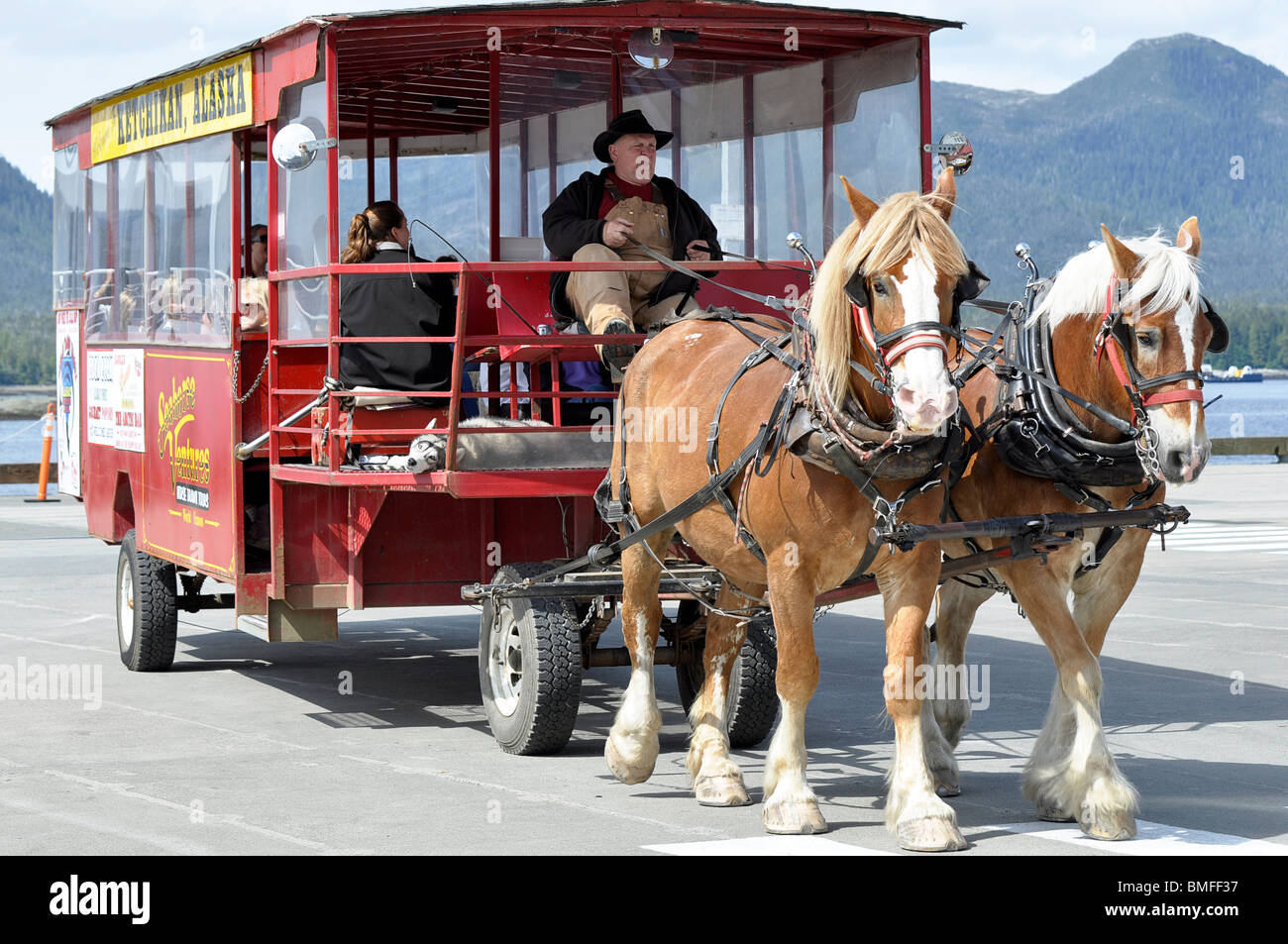 City Tours by Horse Drawn Trolley - Ketchikan, Alaska. - Stock Image