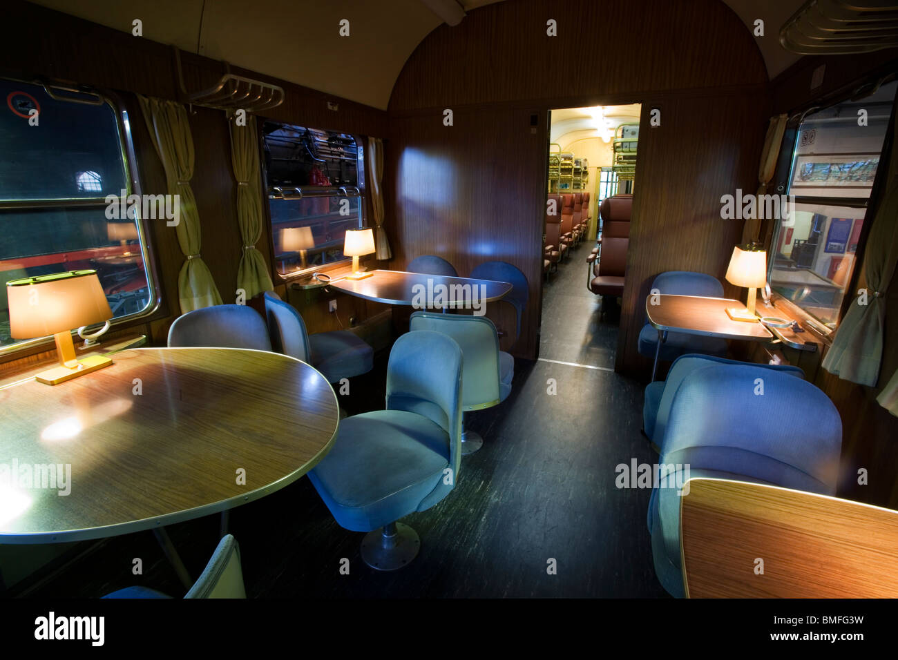 1950's restaurant and bar train coach, Technology Museum, Berlin, Germany - Stock Image