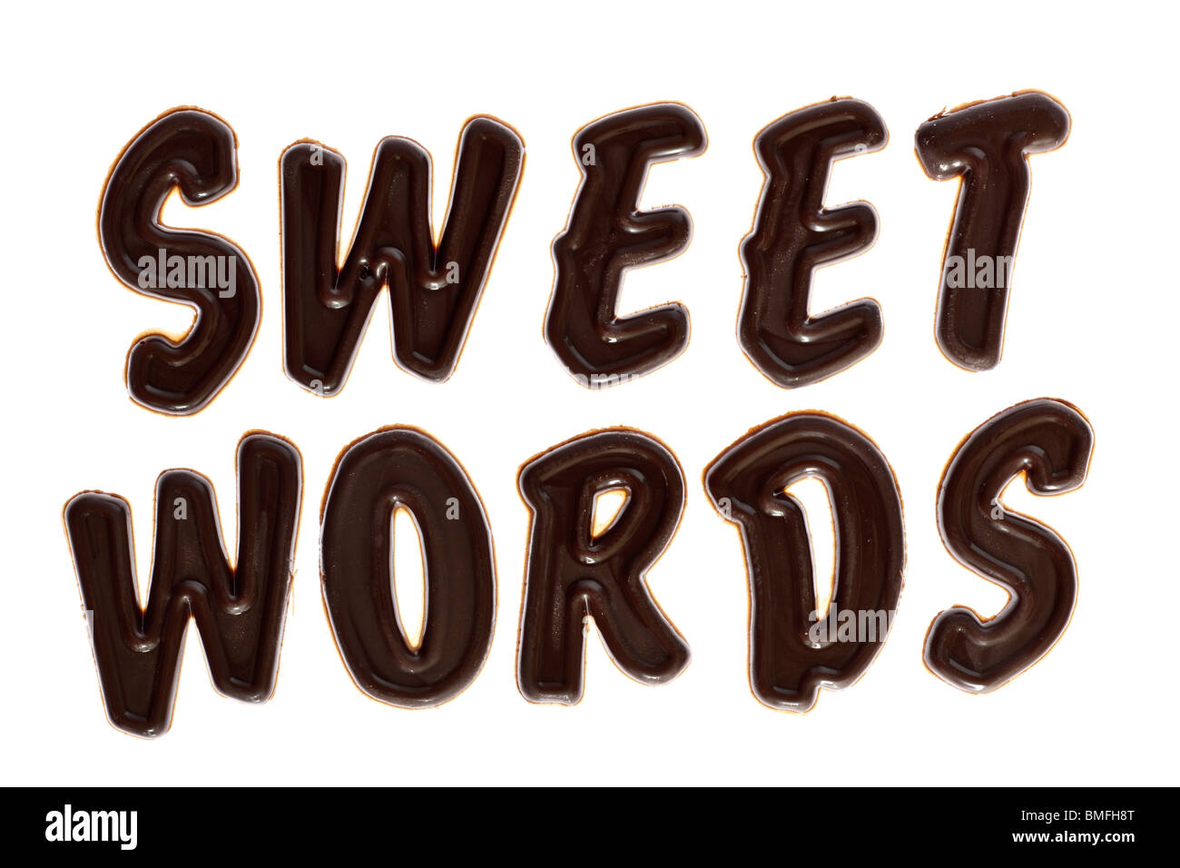 Sweet words chocolate lettering - Stock Image