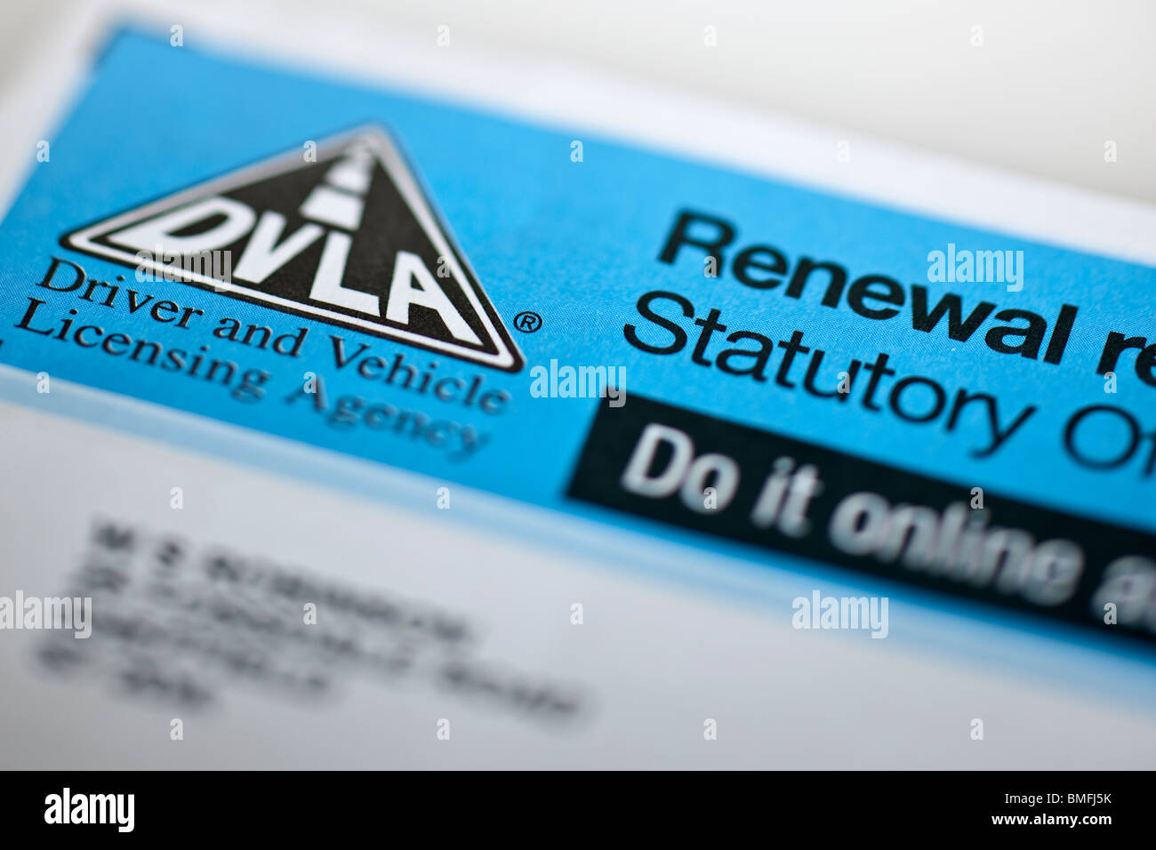 Renewal reminder for DVLA tax disc.  Editorial use only - Stock Image