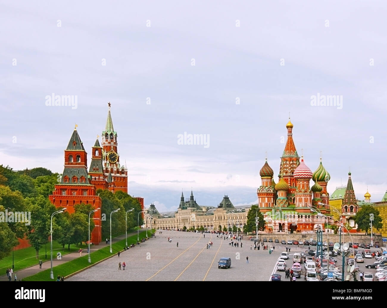 Red Square in Moscow, Russian Federation. National Landmark. Tourist Destination. Stock Photo