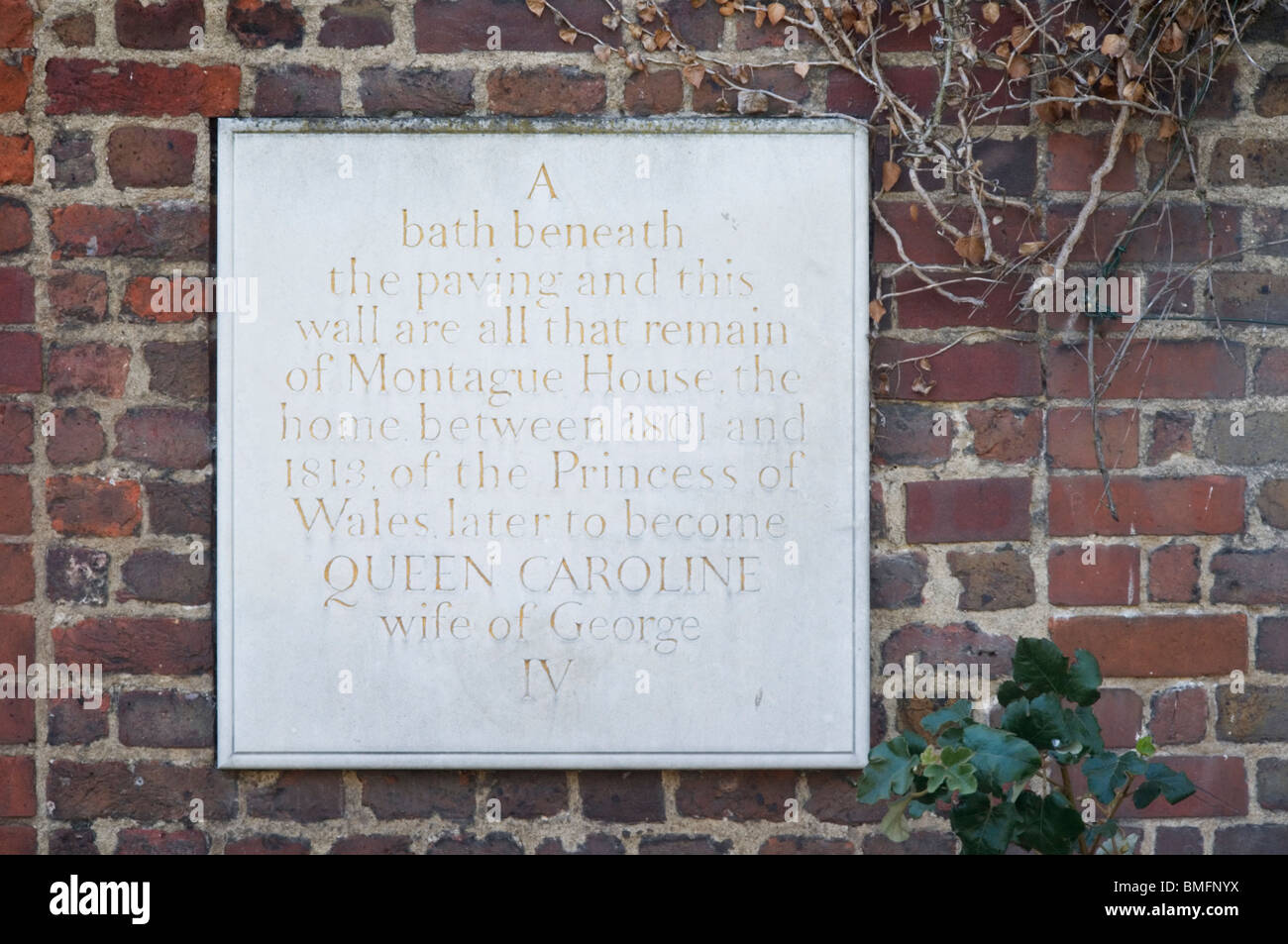 Plaque in Greenwich Park marking site of Montague House and Queen Caroline's Bath Stock Photo