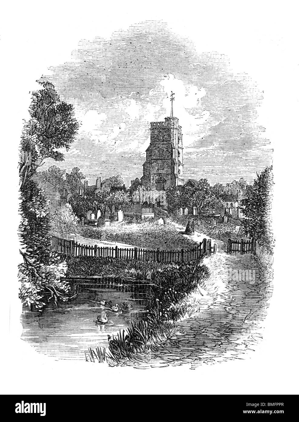 Black and White Illustration of All Saints Church, Fulham, London, Circa 1863 - Stock Image