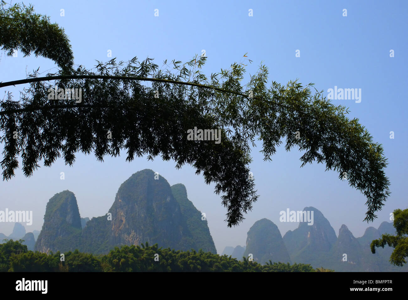 Rural landscape of Yangshuo town outskirts, Guangxi Province, Guilin area, China Stock Photo