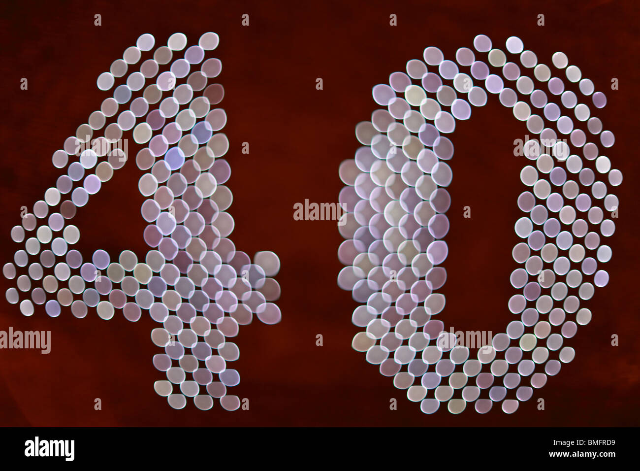 Number 40 Forty Lights Bokeh - Stock Image