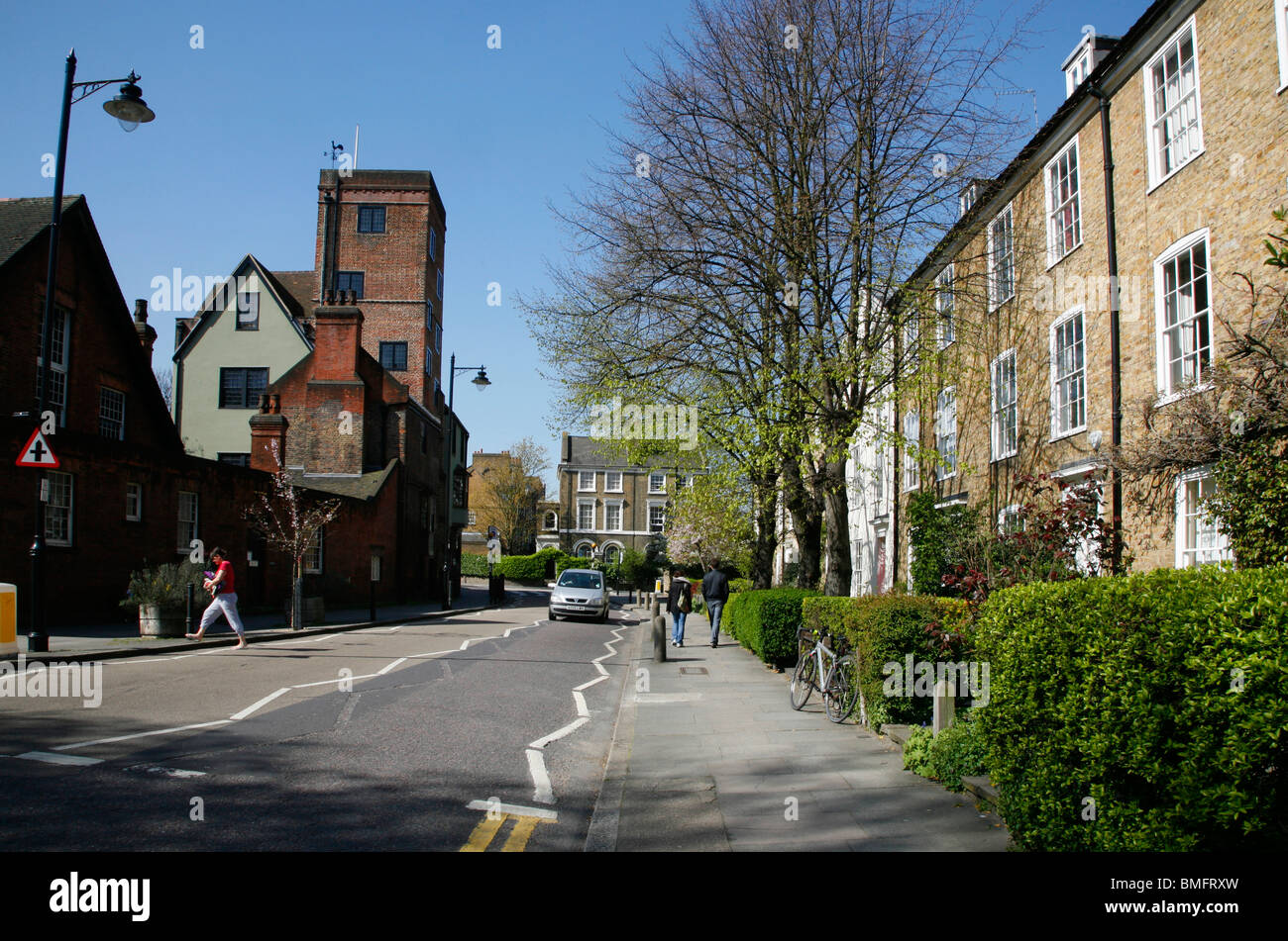 Looking up Canonbury Place to Canonbury Tower, Canonbury, London, UK - Stock Image