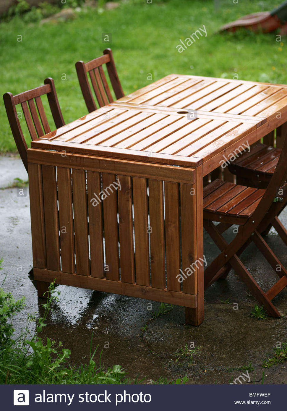 Wooden Garden Furniture Close Up Stock Photo - Alamy
