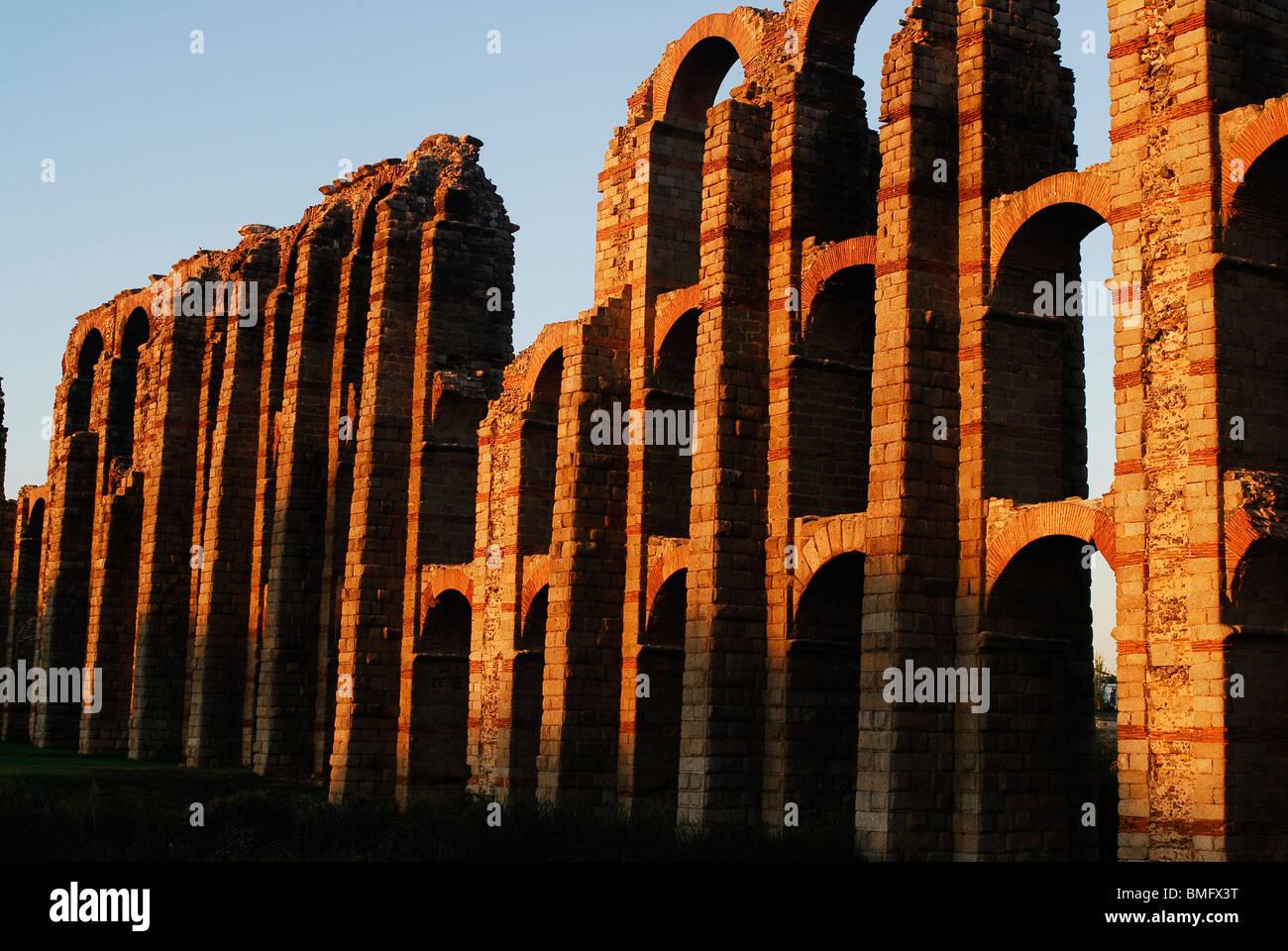 Acueducto Romano de los Milagros. Merida. Extremadura, España. Roman Aqueduct of The Miracles. Merida. Extremadura. - Stock Image