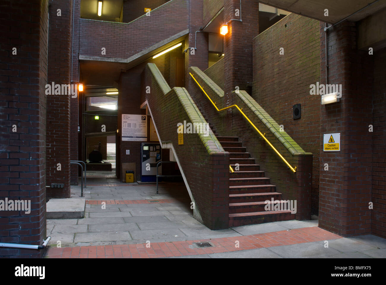 Stairs inside multi-story car-park, Whitehaven, Cumbria, England uk - Stock Image