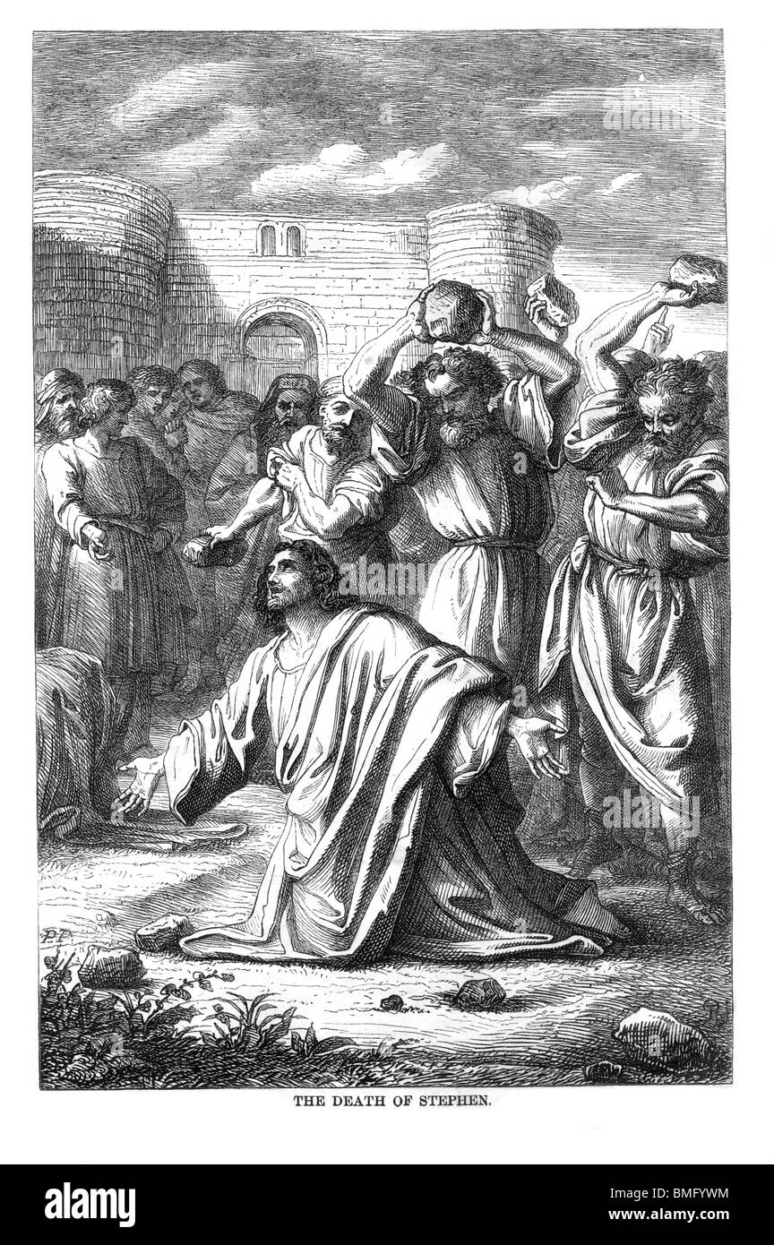 Black and White Illustration of The Martyrdom of Saint Stephen, the first Christian Martyr, by stoning - Stock Image
