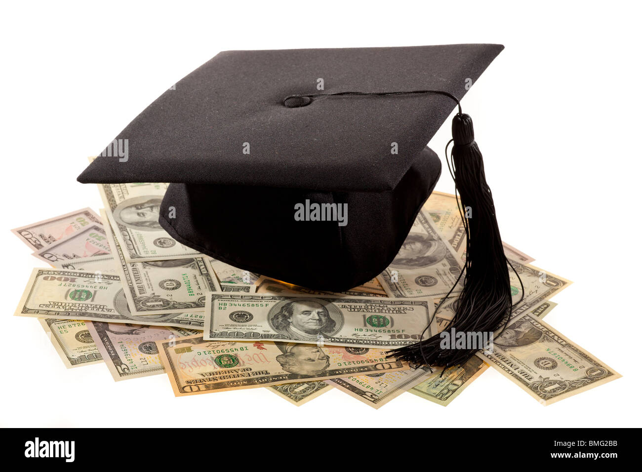 Doctorates and the dollar. Symbol for education costs in America. Stock Photo