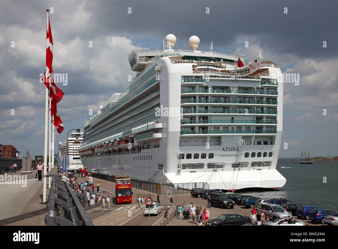 The P&O cruise ship The MS AZURA calling at the port of Copenhagen. - Stock Image