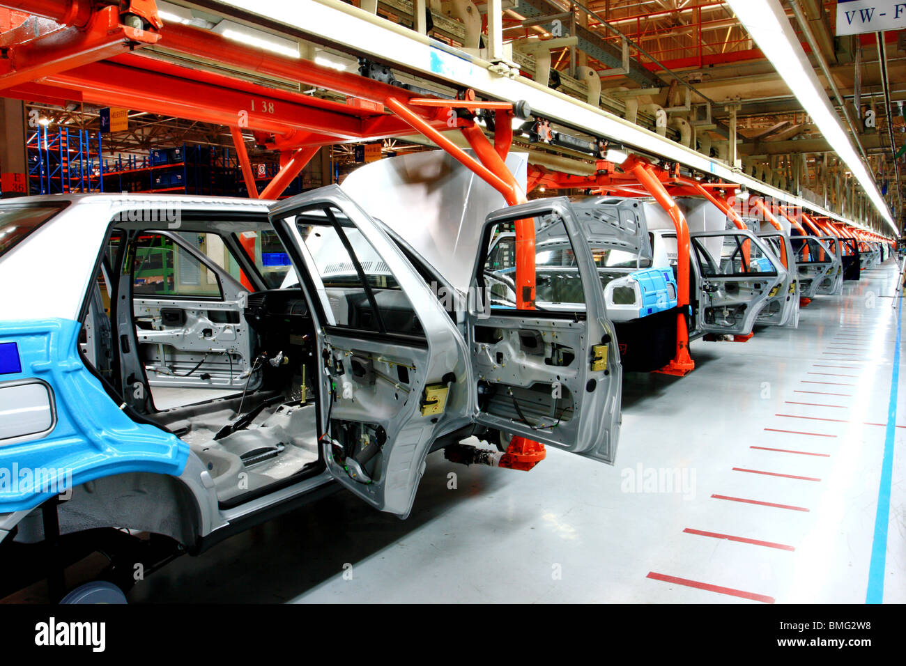 Cars on the assembly line of First Automobile Works, Changchun ...