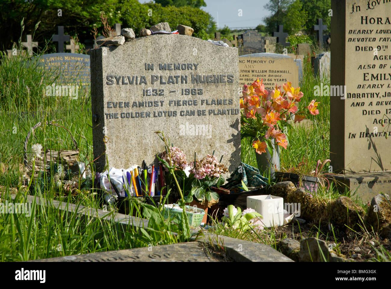 Grave of poet Sylvia Plath, Heptonstall, Calderdale, West Yorkshire, England UK - Stock Image