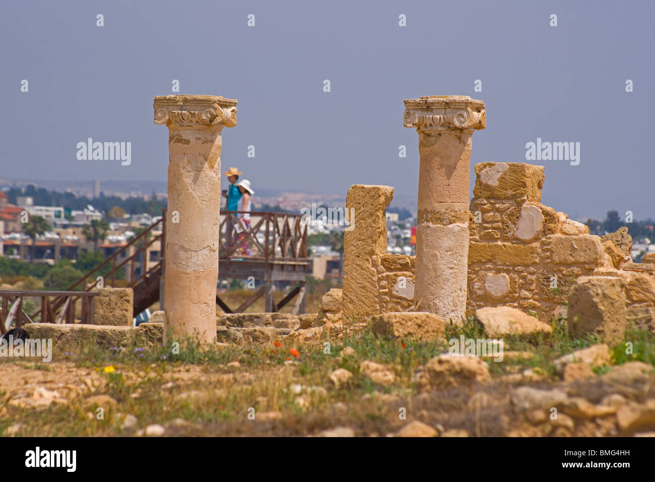 Cyprus Paphos, pafos, Pillars, district archaelogical museum, world heritage site. - Stock Image
