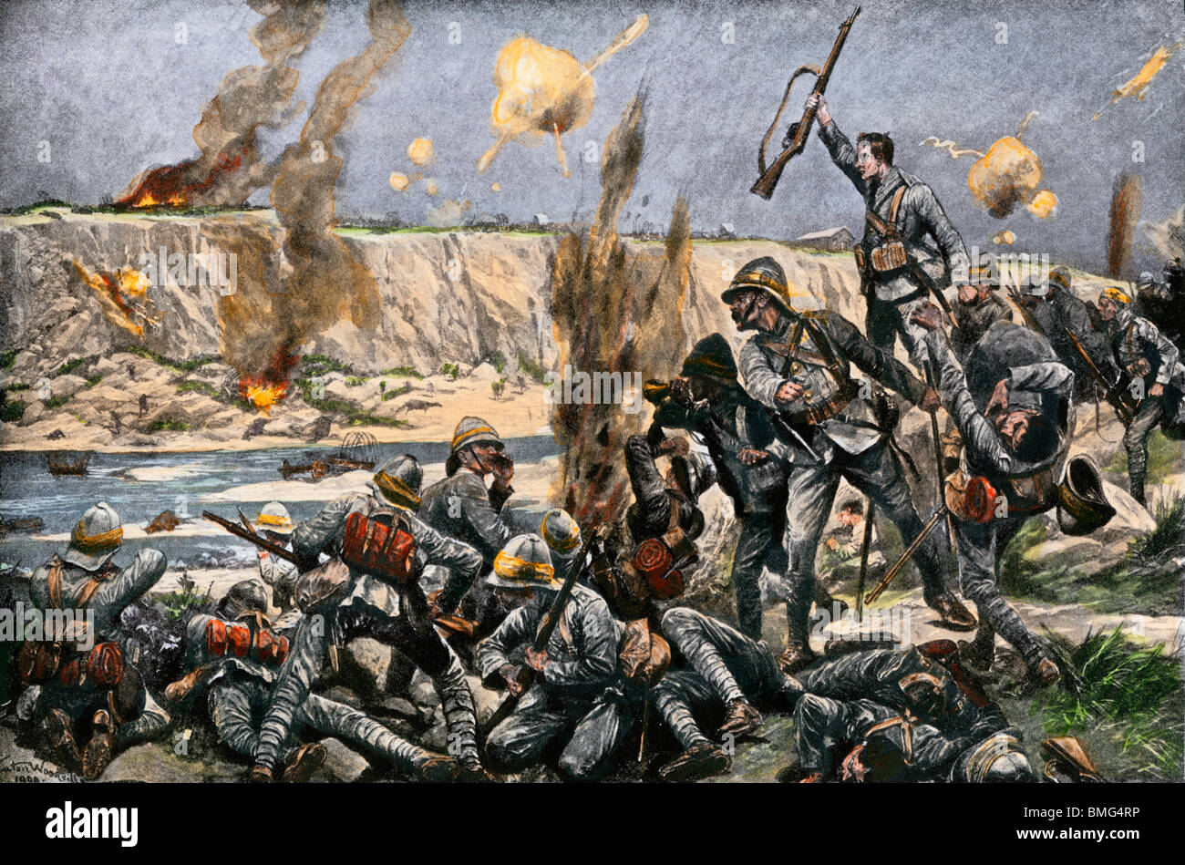 English bombardment of Paardeberg in the Second Boer War, 1900. Hand-colored halftone of an illustration - Stock Image