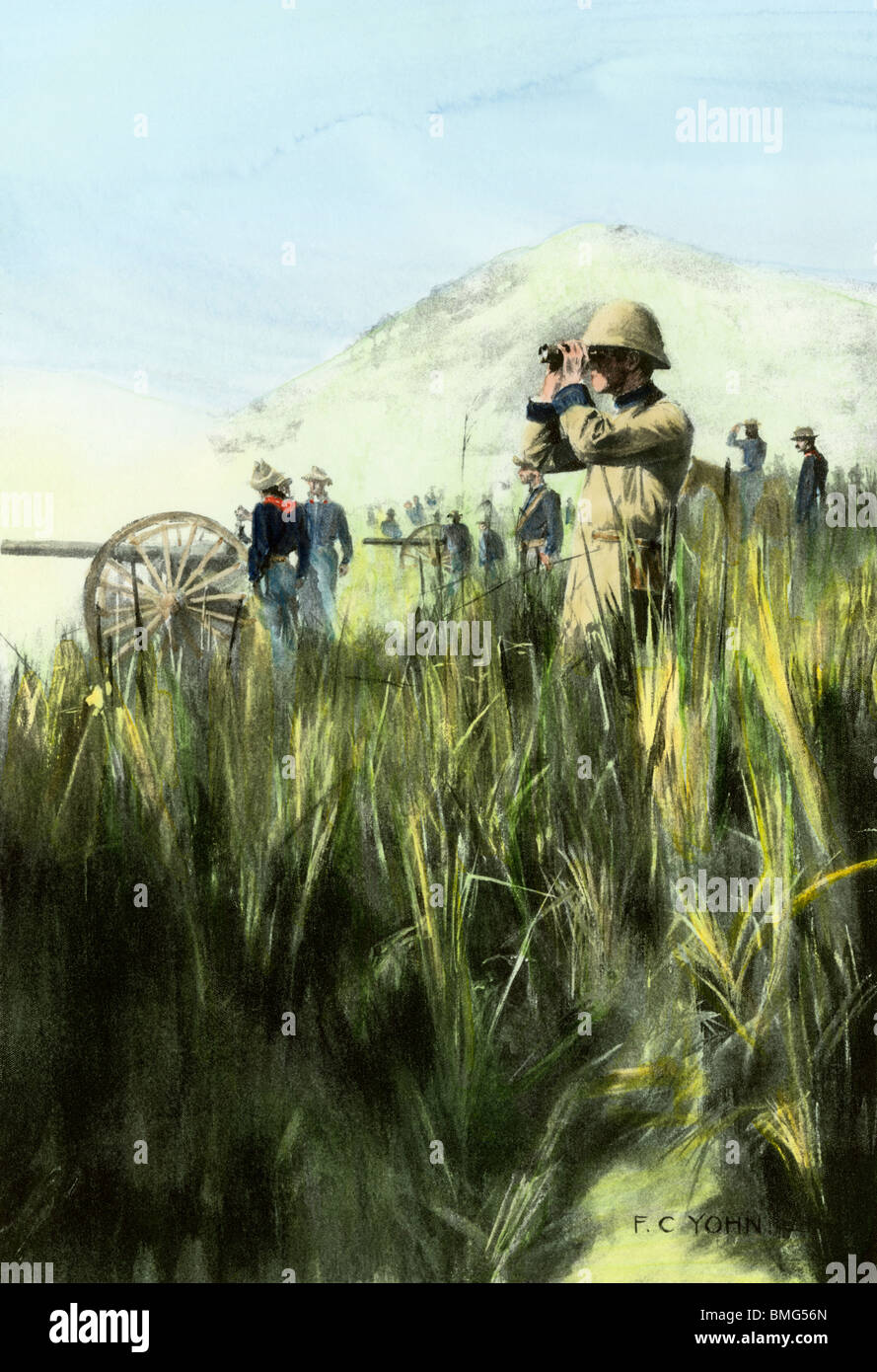 US officers observing artillery barrage of Coamo, Puerto Rico, Spanish-American War, 1898. Hand-colored halftone - Stock Image