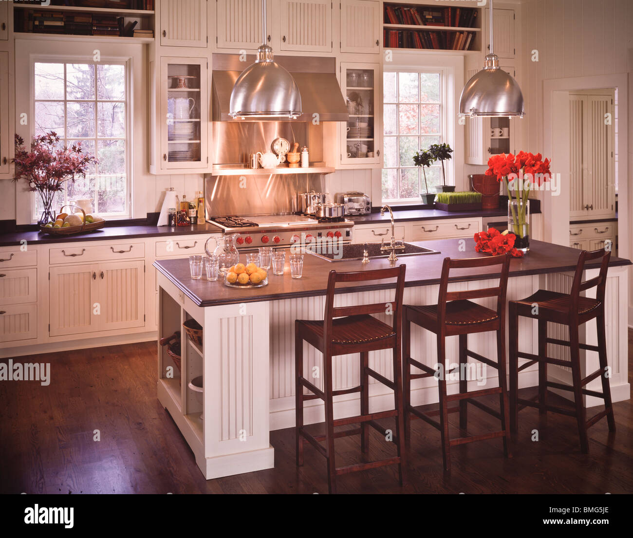 Contemporary Modern Classic Style Home Kitchen Stock Photo Alamy