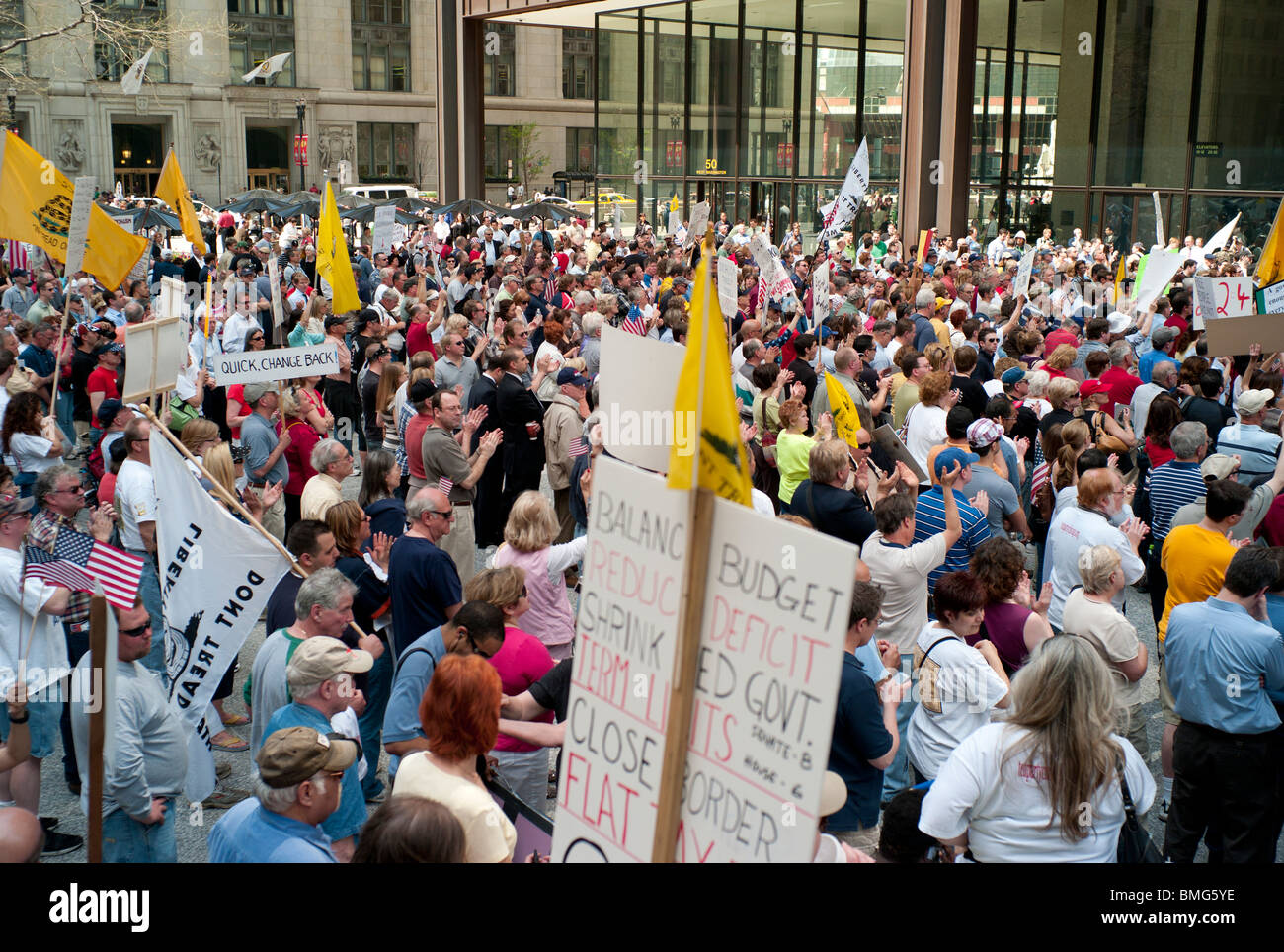 Members of the Illinois Tea Party movement rally at Chicago's Daley Plaza on Thursday, April 15, 2010. Stock Photo