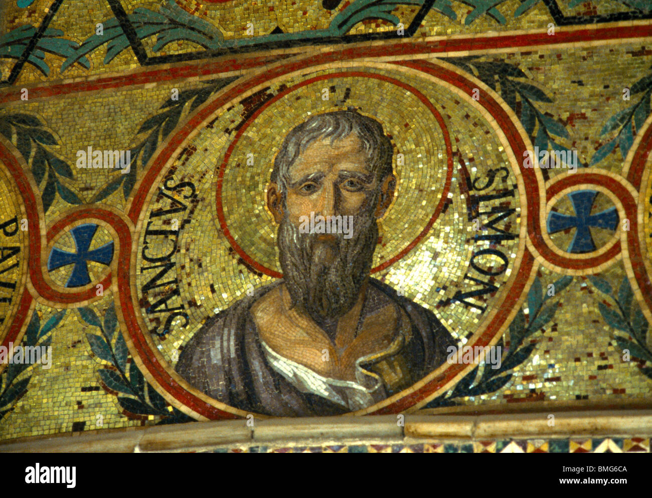 Palermo Sicily Italy The Palatine Chapel In The Norman Palace Mosaic Of Saint Simon - Stock Image