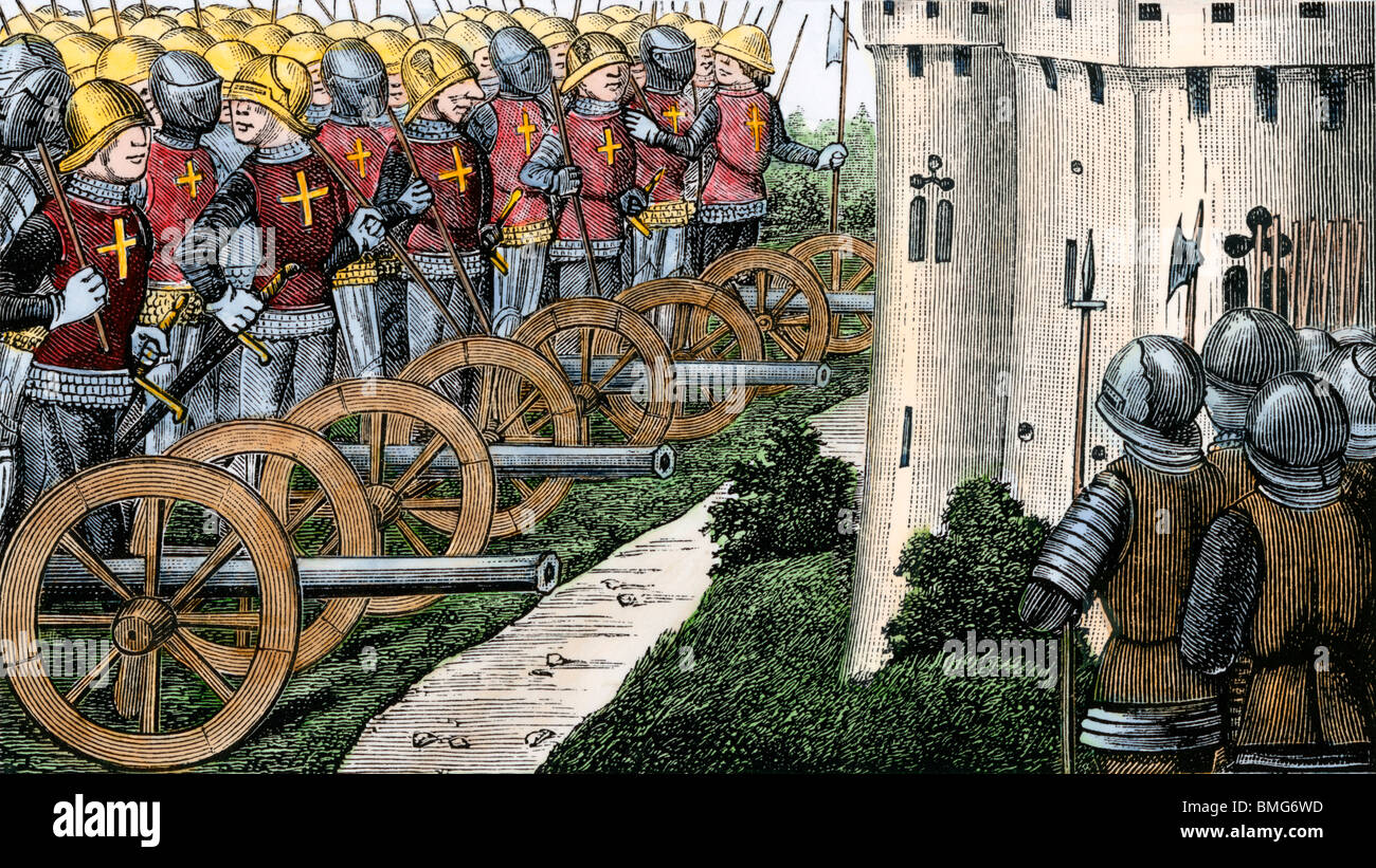 Recovery of Aquitaine, or Guienne, by the French, Hundred Years' War. Hand-colored woodcut - Stock Image