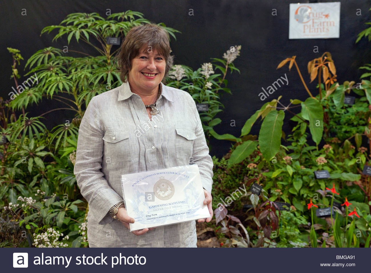 Sue Wynn Jones of Crug Farm Plants with Silver-Gilt medal at Gardening Scotland 2010 - Stock Image