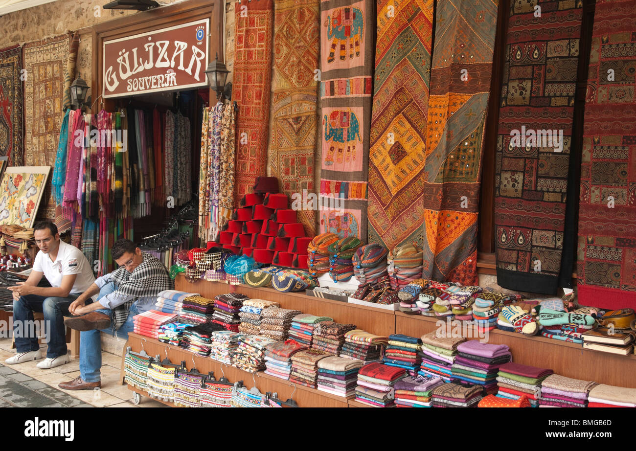 Turkey Antalya - carpets and souvenirs for sale in old city - Stock Image