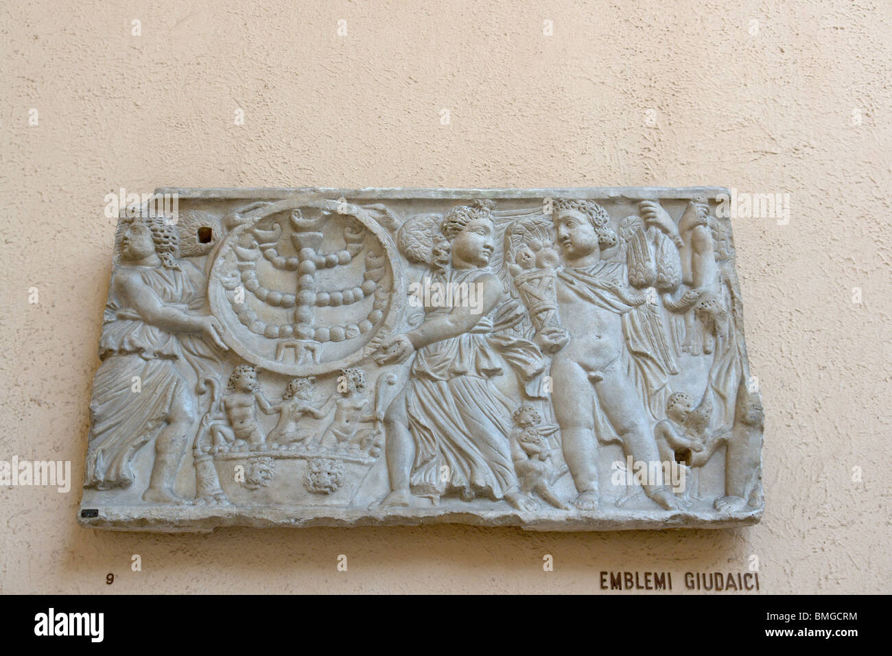 Judaic emblems on a tomb fragment (plaster cast) - Stock Image