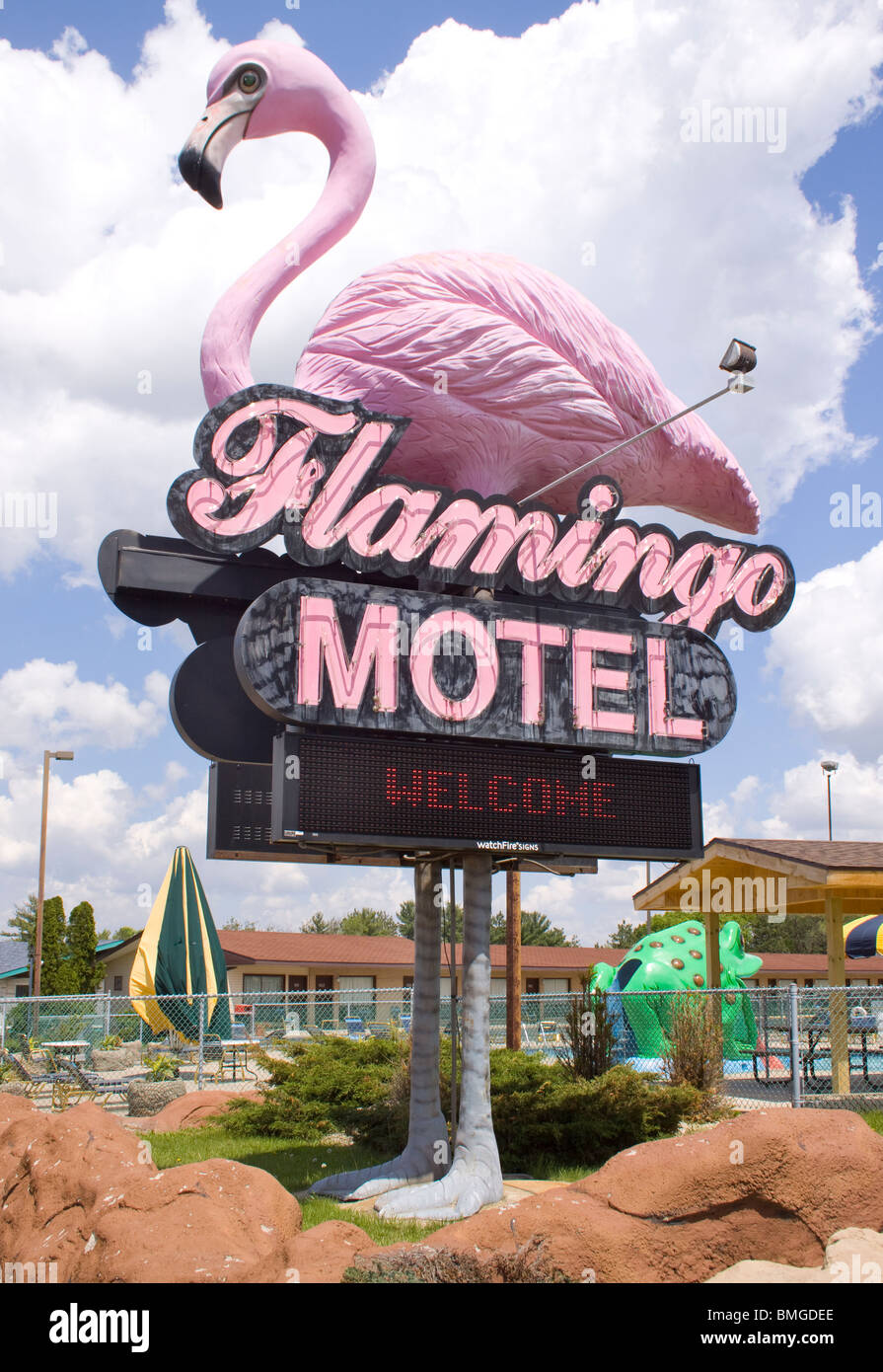 Pink Flamingo Motel in Wisconsin Dells - Stock Image