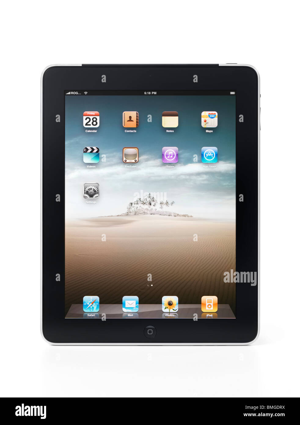 apple ipad 3g tablet with desktop icons on its display isolated on