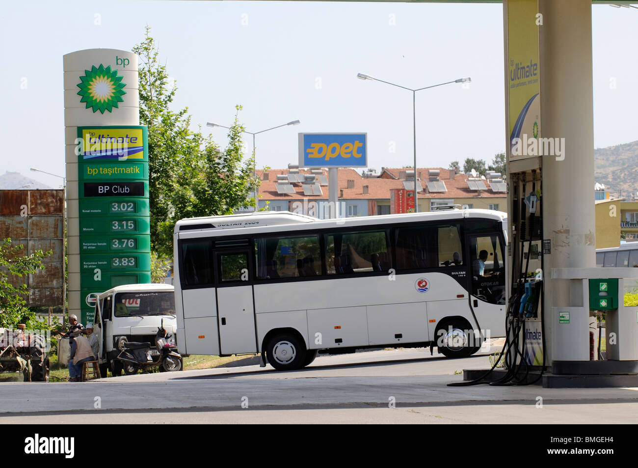 Turkish BP service station in the town of Selcuk situated in western part of Asia Minor Stock Photo